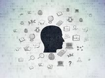 Education concept: Head on Digital Data Paper background. Education concept: Painted black Head icon on Digital Data Paper background with  Hand Drawn Education Stock Image