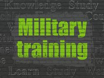 Education concept: Military Training on wall background stock illustration