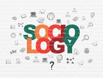 Education concept: Sociology on wall background. Education concept: Painted multicolor text Sociology on White Brick wall background with  Hand Drawn Education Royalty Free Stock Photography