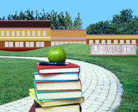 Education concept. Path to college or university Stock Photos