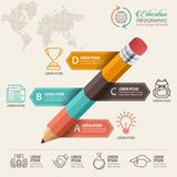 Education infographic concept. Pencil and bubble speech with icons. Education concept. Pencil and bubble speech with icons. can be used for web design, banner Stock Image