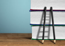 Education concept, pencil Ladder with books Stock Images