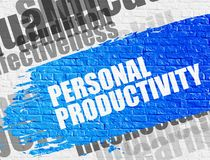 Personal Productivity - Wordcloud on the Brickwall Background. Education Concept: Personal Productivity on the Blue Distressed Paintbrush Stripe. Personal stock illustration