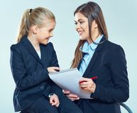 Education concept portrait of teacher wth student. Stock Images
