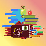 Education concept poster in flat style design. Abstract vector illustration with pen case as fish for education concept poster in flat style design with office Royalty Free Stock Images