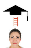 Education concept present by bachelor hat Stock Photo