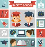 Education concept with pupils and education icons Royalty Free Stock Photos