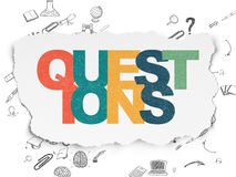 Education concept: Questions? on Torn Paper Stock Photography