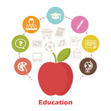 Education concept. Red apple and vector icons vector illustration