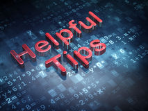 Education concept: Red Helpful Tips on digital background. 3d render Royalty Free Stock Photography