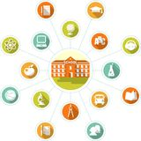 Education concept with school building and flat icons Stock Photo