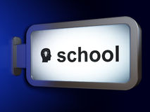 Education concept: School and Head With Light Bulb on billboard. Education concept: School and Head With Light Bulb on advertising billboard background, 3d Royalty Free Stock Photography