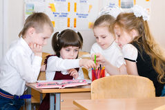 Education concept - School Students at the class. Back to school stock image