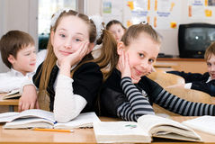 Education concept - School Students at the class. Back to school royalty free stock photos