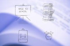 School themed icons from blackboard to books, backpack and alar Royalty Free Stock Images