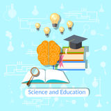 Education concept: science, college, vector illustration Stock Images