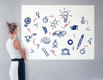 Education concept. Side view of elegant young woman looking at whiteboard with scientific drawings. Education concept royalty free stock photo