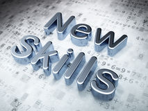 Education concept: Silver New Skills on digital. Background, 3d render Royalty Free Stock Photography