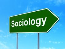 Education concept: Sociology on road sign background. Education concept: Sociology on green road highway sign, clear blue sky background, 3D rendering Royalty Free Stock Photos