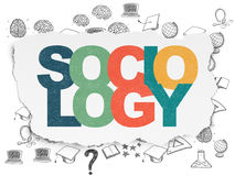 Education concept: Sociology on Torn Paper background. Education concept: Painted multicolor text Sociology on Torn Paper background with  Hand Drawn Education Stock Photography