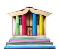 Education concept. Stack of books in form of a building Royalty Free Stock Photography