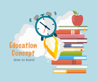 Education concept . Stack books with taking off the watch.Time to learn royalty free illustration