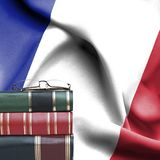 Education Concept - Stack Of Books And Reading Glasses Against National Flag Of France Stock Photo