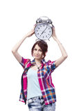 The education concept with student and clock Stock Photos