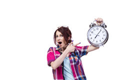 The education concept with student and clock Stock Images