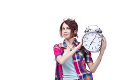 The education concept with student and clock Royalty Free Stock Photography