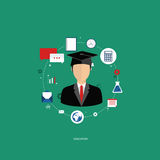 Education. Education concept. Student with education icons. Flat vector illustration Royalty Free Stock Photos