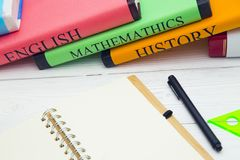 Education concept with student's books royalty free stock images