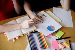 Education concept. Student studying and brainstorming campus con. Cept. Close up of students discussing their subject on books or textbooks. Selective focus stock photography