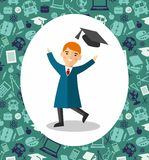 Education concept of students in graduation gown and mortarboard Royalty Free Stock Photography