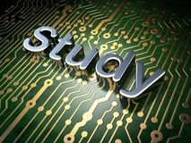 Education concept: Study on circuit board Stock Photo