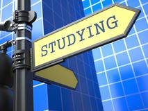 Education Concept. Studying Roadsign Arrow. Royalty Free Stock Images