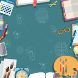 Education concept, table, schoolboy, school objects, back to school Royalty Free Stock Images