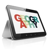 Education concept: Tablet Computer with Geography on  display. Education concept: Tablet Computer with Painted multicolor text Geography on display, 3D rendering Stock Photos