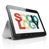 Education concept: Tablet Computer with Sociology on  display. Education concept: Tablet Computer with Painted multicolor text Sociology on display, 3D rendering Royalty Free Stock Photos