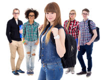 Education concept - teenagers or students  isolated on white. Background Stock Images