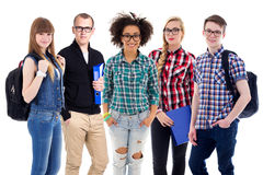 Education concept - teenagers or students standing isolated on w. Hite background Royalty Free Stock Image