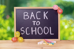 Education concept with text back to school is written in chalkbo Stock Images