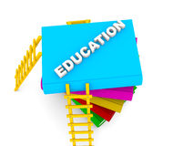 Education concept, text on colorful books Stock Images
