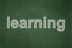 Education concept: Learning on chalkboard background. Education concept: text Learning on Green chalkboard background Royalty Free Stock Photo