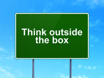 Education concept: Think outside The box on road Royalty Free Stock Photos