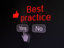 Education concept: Thumb Up icon and Best Practice. Education concept: buttons yes and no with pixelated Thumb Up icon, word Best Practice and Hand cursor on Stock Images