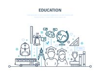 Education concept. Transportation of children, students. Education concept. Training, distance learning, knowledge, teaching. Transportation of children stock illustration