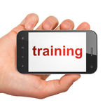 Education concept: Training on smartphone Royalty Free Stock Photo