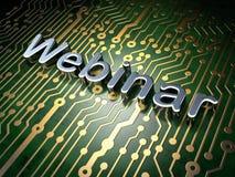 Education concept: Webinar on circuit board background Stock Photos