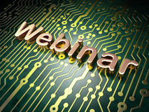 Education concept: Webinar on circuit board background Stock Images